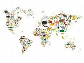 Постер, плакат: Cartoon Animal World Map For Children And Kids Animals From All Over The World On White Background