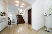 picture of bannister  - forged a beautiful staircase in a modern apartment - JPG