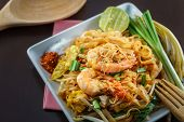 Постер, плакат: Fried Noodles With Shrimp Delicious Thai Fast Food