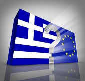 image of financial management  - European Greece questions or Greek debt crisis and austerity management concept as a three dimensional blue and white flag and European Union symbol with a question mark in between as an Athens financial economy metaphor - JPG