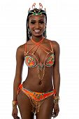 picture of samba  - Image of a samba woman dancer posing over white - JPG
