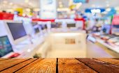 picture of department store  - blur image of eletronic department store with bokeh for background usage  - JPG