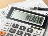 pic of paycheck  - calculator with the word wealth on the display - JPG