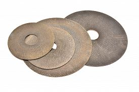 picture of abrasion  - cutting abrasive discs isolated on white background - JPG