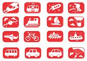 stock photo of cruise ship  - Red and white transportation icon set  - JPG