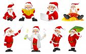 Set of funny Santa Claus characters playing video game with gaming console in hands. Set of Santa Cl poster