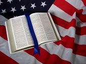 foto of american flags  - Open holy bible on an American flag - JPG