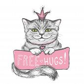 Cute Hand Drawn Card, Cat In The Crown And Inscription poster