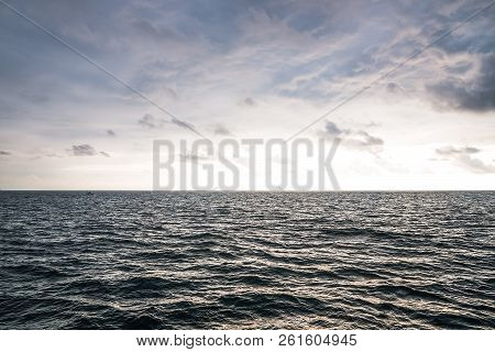 poster of Landscape Sky And Sea. Empty Skyline. Sea Background