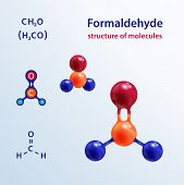 Structure Of Molecules. 3 D Formaldehyde (formalin) Molecule. Icon And Chemical Formula, H2co, 2d &  poster