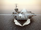Military Drone Aircraft Launching From An Aircraft Carrier On A Strike Mission. 3d Rendering poster