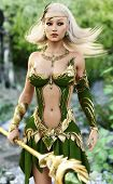 Elegant Female Mage In The Forest With Depth Of Field.adorable Fantasy Character With Ornamental Dre poster