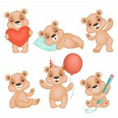 Cute Bear Pose. Cute Animal Teddy Bear Boy Toys For Kids Birthday Or Valentine Gifts Vector Characte poster