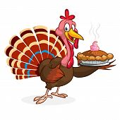 Thanksgiving Cartoon Turkey Bird Holding Fork And Pie. Vector Illustration Of Funny Turkey Character poster