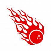 Blazing Fireball With Flames Vector Emblem. Burning Red Bowling Ball With Hot Fire Flame Isolated On poster