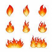 Collection Of Flat Vector Flare Flames And Bonfire. Nine Type Of Burning Fire Flame And Hot Blazing  poster