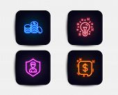 Neon Glow Lights. Set Of Idea, Security Agency And Banking Money Icons. Payment Message Sign. Creati poster
