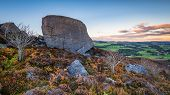 Drake Stone Above Harbottle, In Northumberland, Which Is A Huge 30 Feet Tall Sandstone Boulder Reput poster