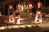 pic of christmas lights  - Christmas lights welcoming visitors in the night - JPG