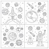 Galaxy Planets Banner Set. Outline Set Of Galaxy Planets Vector Banner For Web Design poster