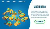 Machinery Concept Banner. Isometric Banner Of Machinery Vector Concept For Web, Giftcard And Postcar poster
