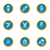 Clipping Icons Set. Flat Set Of 9 Clipping Vector Icons For Web Isolated On White Background poster