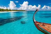 Perfect Tropical Island Paradise Beach Maldives, Clouds Over An Maldivian Island With A Boat. Wooden poster