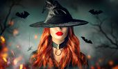 Halloween Sexy Witch girl portrait. Beautiful young woman in witches hat with long curly red hair an poster