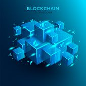 Blockchain Concept Background. 3d Abstract Digital Blocks Or Cubes Constructs Database. Technology B poster