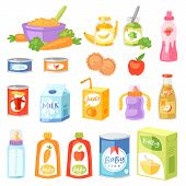 Baby Food Vector Child Healthy Nutrition Fresh Juice With Fruits And Vegetable Mashed Puree For Chil poster