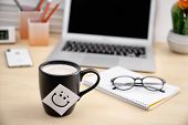 Sticky Note With Funny Face Attached To Cup Of Coffee On Office Table. Break Time poster