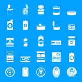 Tin Can Food Package Jar Icons Set. Simple Illustration Of 25 Tin Can Food Package Jar Icons For Web poster