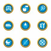Pedigree Icons Set. Flat Set Of 9 Pedigree Vector Icons For Web Isolated On White Background poster