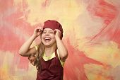Chef Kid. Chef Kid Or Happy Little Girl Cook In Red Chef Hat And Apron On Colorful Abstract Backgrou poster