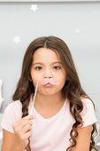 Slumber Party Photo Booth Props. Kid Girl Frowned Posing With Pink Mustache Party Attribute. Prepare poster