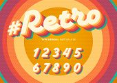 Vector Retro Alphabet Design. Vintage 3d Typeface With Colorful Rainbow Layers. Decorative Numbers I poster