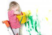 Постер, плакат: милый ребенок роспись надглазурная белый