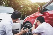 Two Drivers Man Arguing After A Car Traffic Accident Collision, Traffic Accident And Insurance Conce poster