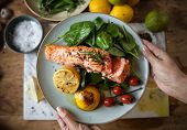 Grilled salmon food photography recipe idea poster