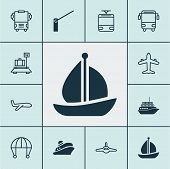 Transport Icons Set With Barrier, School Bus, Sail Ship And Other Transport Elements. Isolated Vecto poster