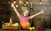 Kid Girl Fresh Vegetables Harvest Rustic Style. Fall Harvest Holiday. Child Presenting Harvest Veget poster