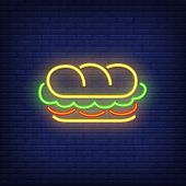 Sandwich Neon Sign. Glowing Sandwich Banner In Neon Style. Food Concept. Night Bright Advertisement. poster