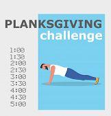 Planksgiving Challenge Banner. Fitness Man Doing Planking Exercise. Athlete Standing In Plank Positi poster
