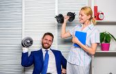 Man And Woman Raise Heavy Dumbbells. Strong Powerful Business Strategy. Good Job Concept. Boss Busin poster