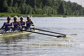 AMSTERDAM-JULY 22: Verburgh, De Boer, Rustenburg and Boers (Dutch Women's four) start at the world c