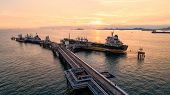 Oil Tanker, Gas Tanker In The High Sea.refinery Industry Cargo Ship,aerial View,thailand, In Import  poster
