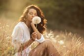 Free Happy Woman Enjoying Nature. Beauty Girl Outdoor. Freedom Concept. Beauty Girl With Dandelion,  poster