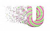 Broken Shattered Alphabet Letter U. Crushed Font Made Of Pink And Green Striped Lollipop. 3d Render  poster