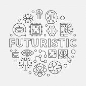 Futuristic Round Vector Concept Illustration In Thin Line Style. Future Technology And Innovation Co poster