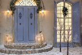House Decorated For Christmas Outside. Vintage Courtyard Interior With Stairs, Porch, Door And Light poster